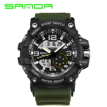 SANDA brand men's sports watch dual display analog digital LED electronic watch men's fashion outdoor waterproof military watch