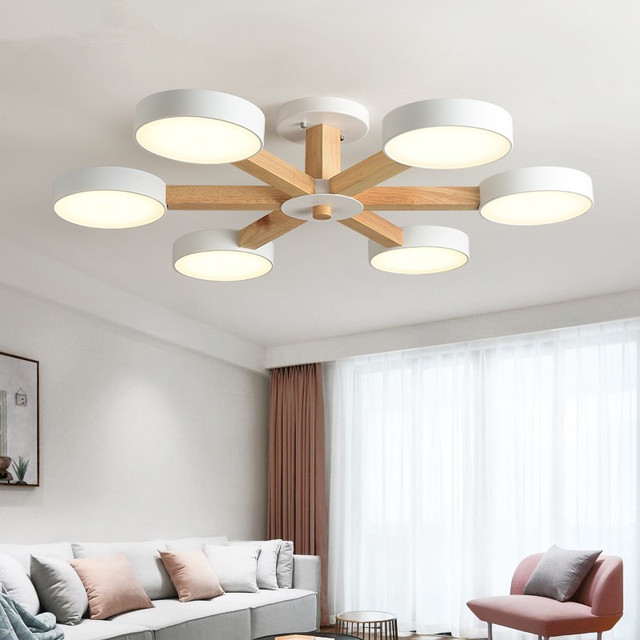 220V LED Chandelier For Living Room Modern White Lustre Wooden Bedroom Lighting Simple Surface Mounted Chandeliers