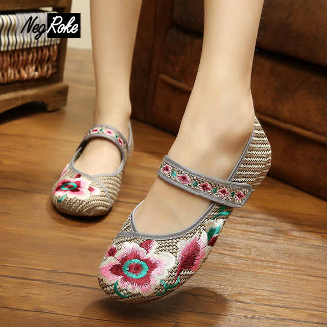 Cordate telosma shoes women fashion embroidery vintage oxford shoes for women soft soles Chinese casual ladies flats shoes