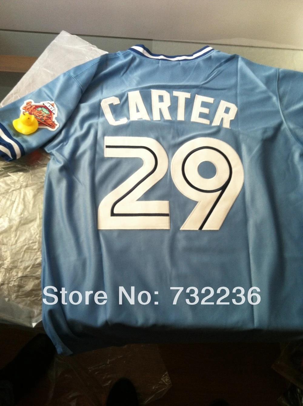 Buy Discount/ stitched Toronto Blue Jays #29 Joe Carter blue throwback retro Baseball Jerseys men's baseball jersey/ shirt