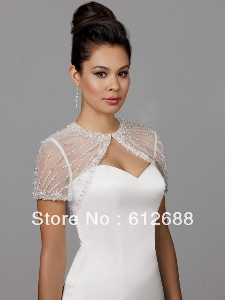 Tule branco Com Pequeno Baguetes Manga Curta Ver Através Nupcial Do Casamento Bolero Jacket de Noiva Curto Shrug Cape Shawl