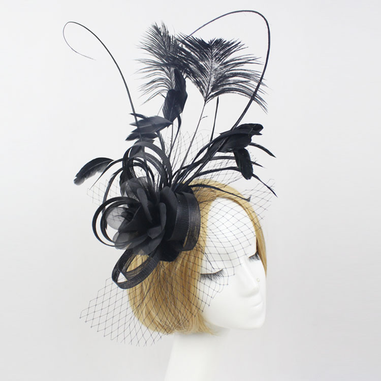 Fascinator Fashion Bride Headdress Feathers Dance Show Headdress Covered The Face Veil Party Hat Headdress Hairpin Headwear bride of the water god v 3