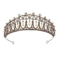 Винтажная Серебряная королева принцесса Диана Корона кристалл и жемчуг диадема для невесты Свадебные аксессуары для волос Тиара повязка н...