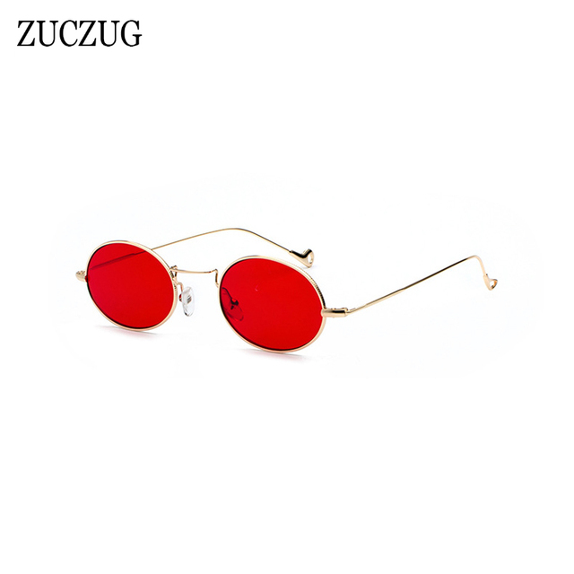 0dd8459af82 ZUCZUG Retro Oval Sunglasses Women Brand Design Round Small Size Sun Glasses  Ladies Gold Frame Red