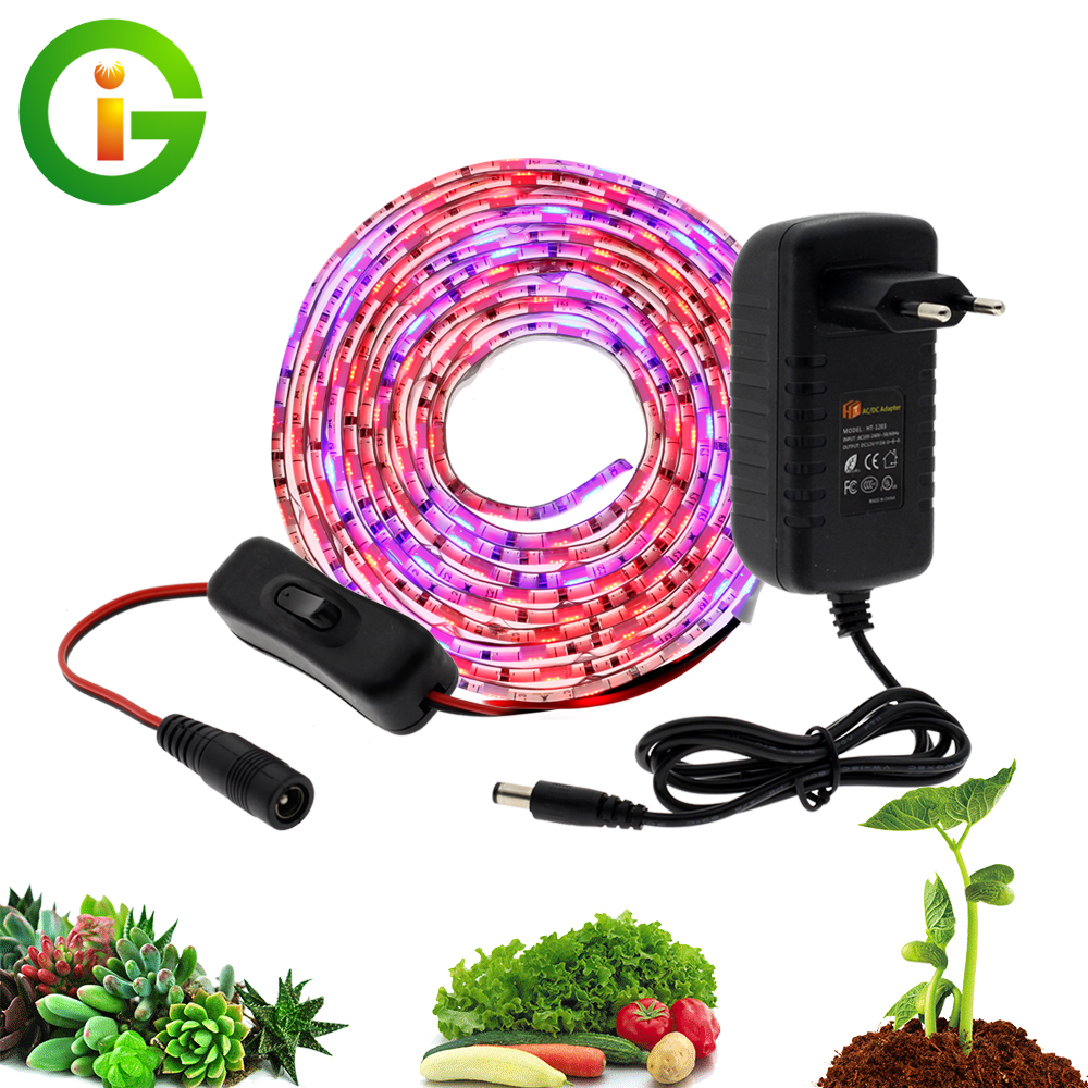 LED Grow Light DC12V Growing LED Strip Plant Growth Light Set With Adapter And Switch