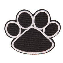 4.5cmx5.5cm 1PC for Children Clothing Cute Black Dog Animals Footprint Paw Patch Iron On Embroidered Patches Stickers(China)