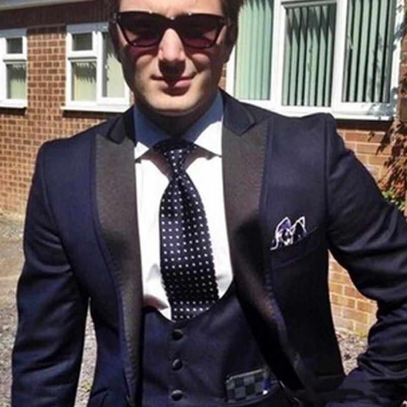 Bleu marine marié Tuxedos pour tenues de mariage 2018 Peaked revers un bouton sur mesure hommes d'affaires costumes veste + gilet + pantalon terno - 2