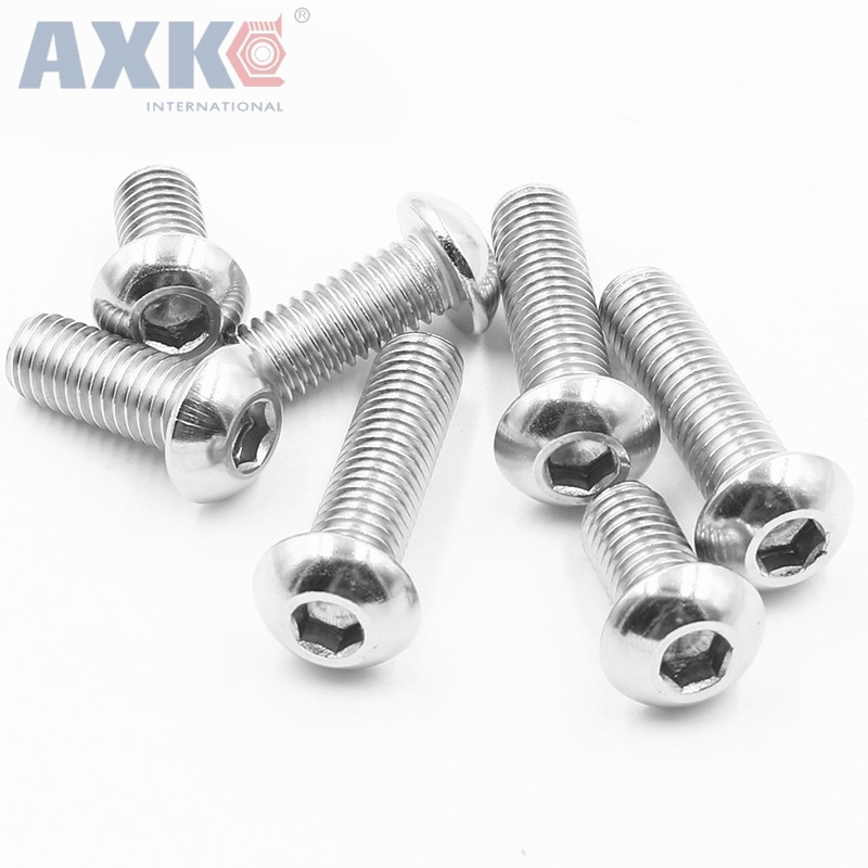 AXK 20Pcs M4 M5 M6 ISO7380 Stainless Steel 304 A2 Round Head Screws Mushroom Hexagon hex Socket Button Head Screw 7pcs m6 60mm m6 60mm 304 stainless steel din7380 inner hex bolt hexagon socket mushroom round button head screw