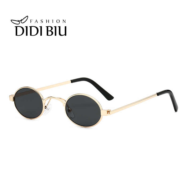 1d43091f1eb Small Oval Sunglasses Women Vintage Skinny Round Party Glasses Men  Steampunk Tiny Circular Shades Pink Yellow