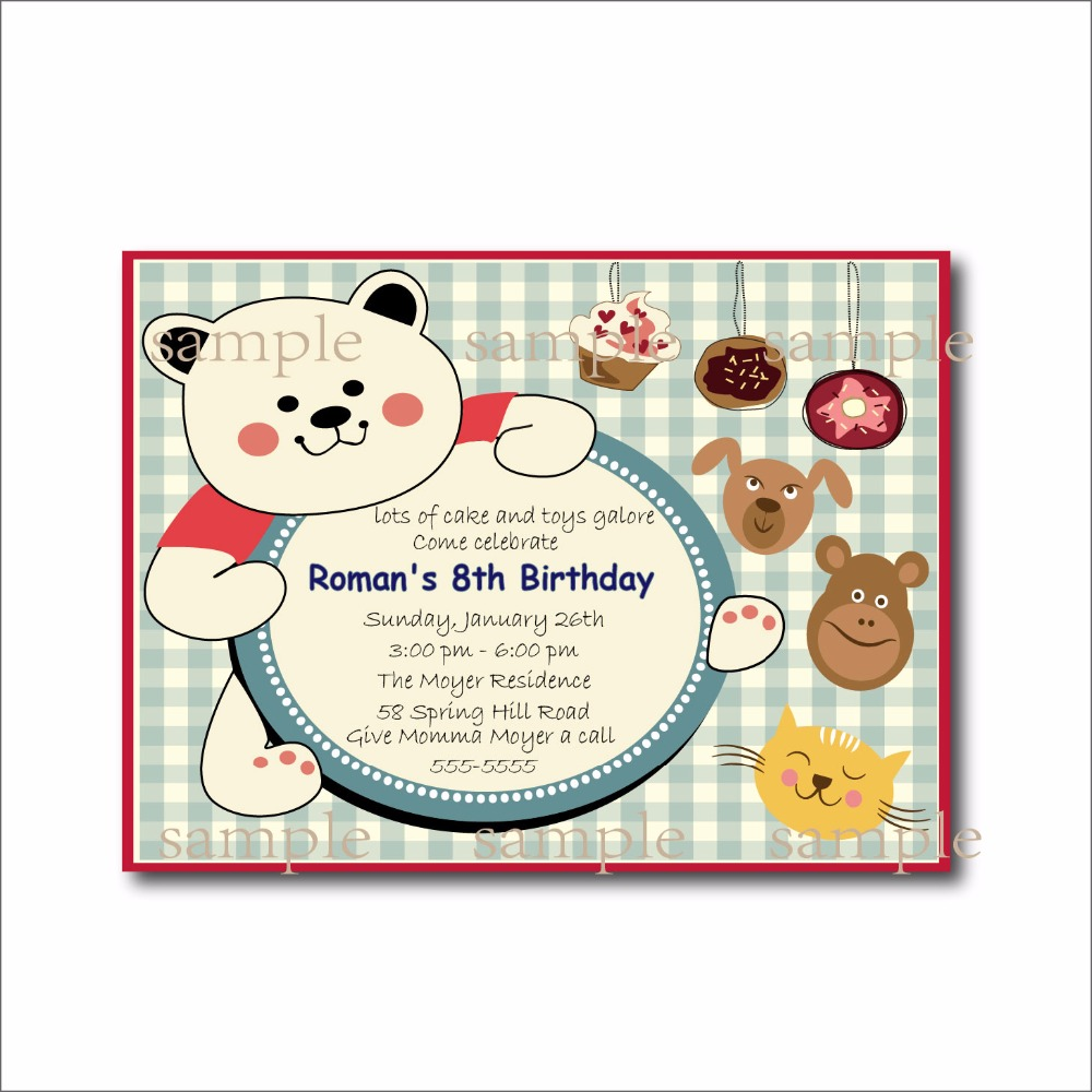 20 pcs/lot Custom Cute Bear cupcake toys Birthday Invitations Baby ...