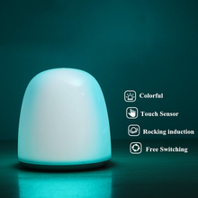 Fantasy Colorful LED Night Light 7 Modes Touch Sensor Rocking Dual Induction Table Lamp USB Rechargeable Bedroom Bedside
