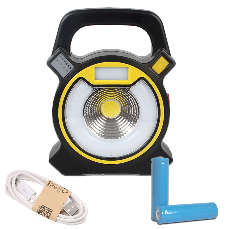 15W COB LED Portable Lantern Camping Light Rechargeable 18650 Battery Work Lights Waterproof Tent Lamp Outdoor Floodlight Torch