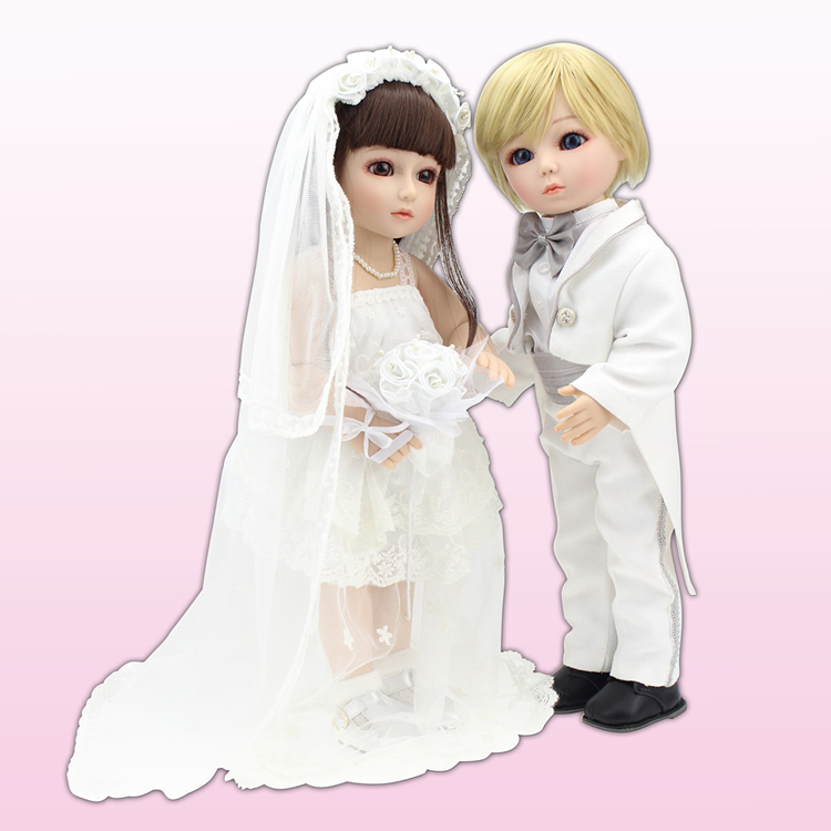 18 Inch 45cm Lifelike Marry wedding SD BJD Vinyl Reborn Baby Doll Toys with dresses LO90 18 inch 45cm new lifelike vinyl reborn baby doll full vinyl sd bjd body dolls with clothes for girls gh587