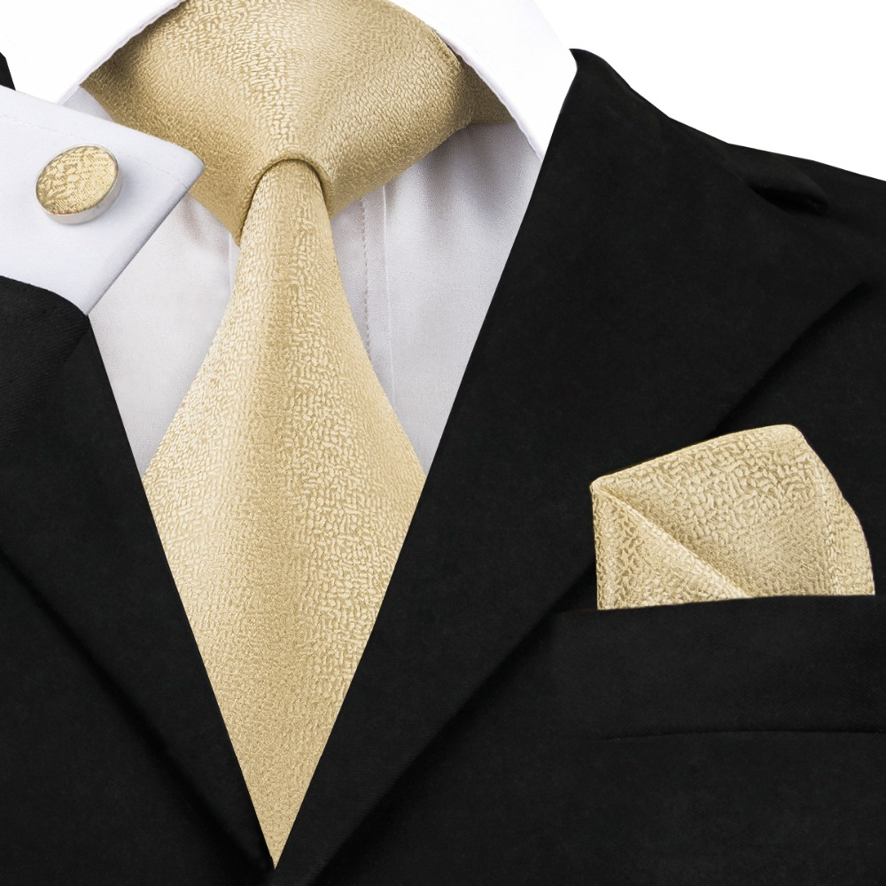 C-1116 Mode Mens Tie Set Gold Schnee Krawatte Tasche platz Manschettenknöpfe 8,5 cm Klassische Jacquard Seide Krawatten für Männer Anzüge Corbatas