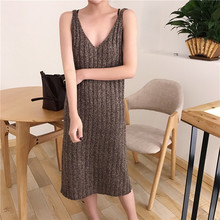 2017 Sring Autumn backless knitted Stright font b dress b font Women Solid Vertical striped sexy