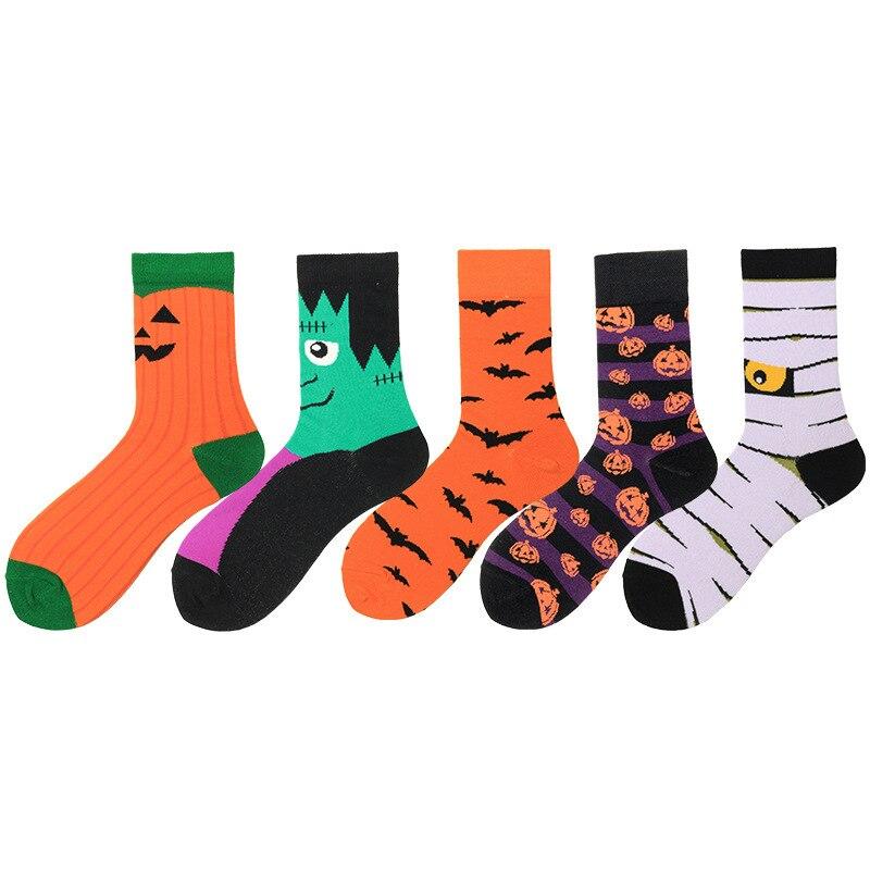 PEONFLY New 2020 Halloween Bats And Pumpkin Pattern Cotton Happy Socks Harajuku Fashion High Quality Party Cute Nolvety Sokken