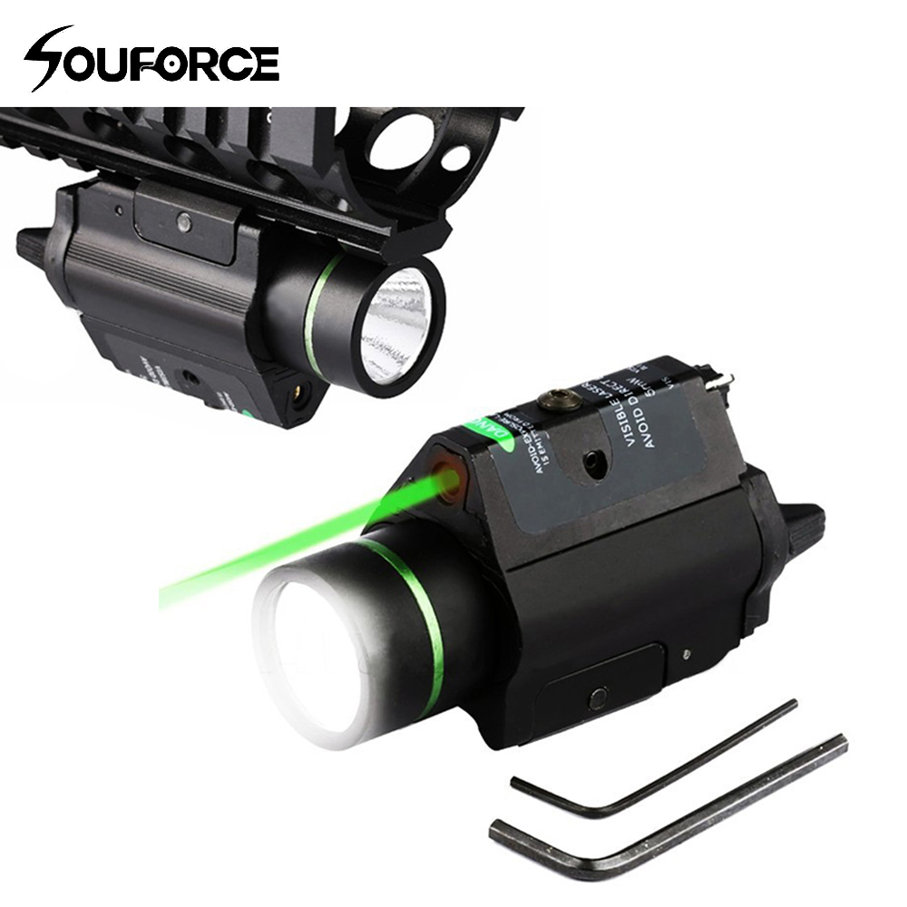 Hunting Combo Metal Green Dot Optical Sight LED Flashlight 200LM 3W with 20mm rail Weaver Picatinny For Glock 17 hunting compact tactical green laser sight flashlight combo low profile pistol handgun light with 20mm picatinny rail