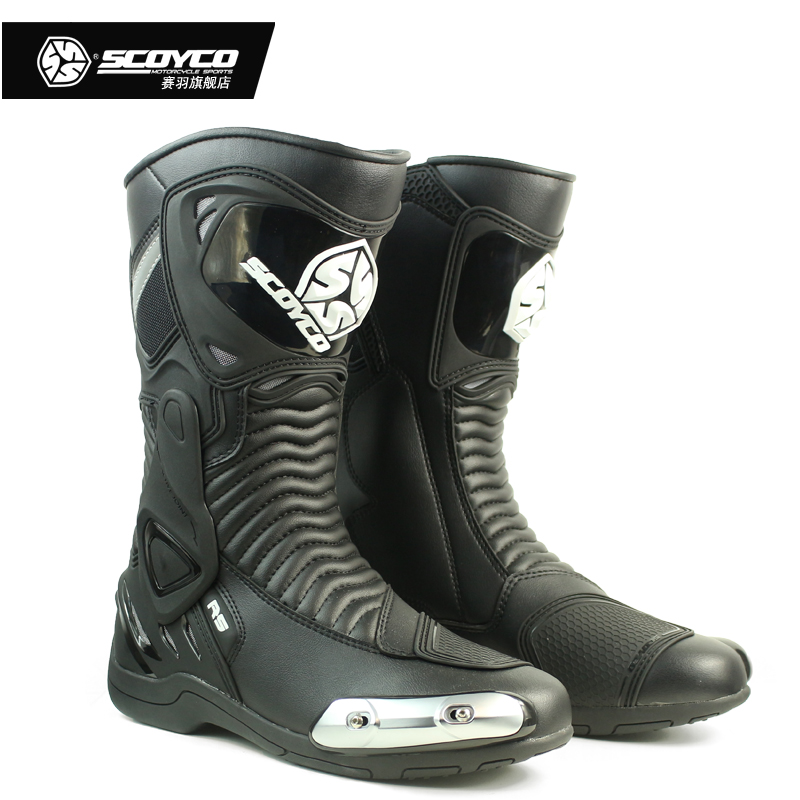 Genunie Leather Motorcycle Cycling Boot Motocross Racing Shoes Motor Bike Footwear Scoyco MR001 ...