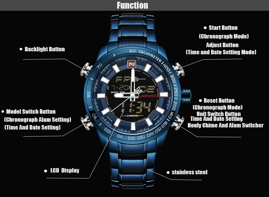 NAVIFORCE Mens Quartz Analog Watch Luxury Fashion LED Sport Wristwatch Waterproof Stainless Male Watches Clock Relogio Masculino 9