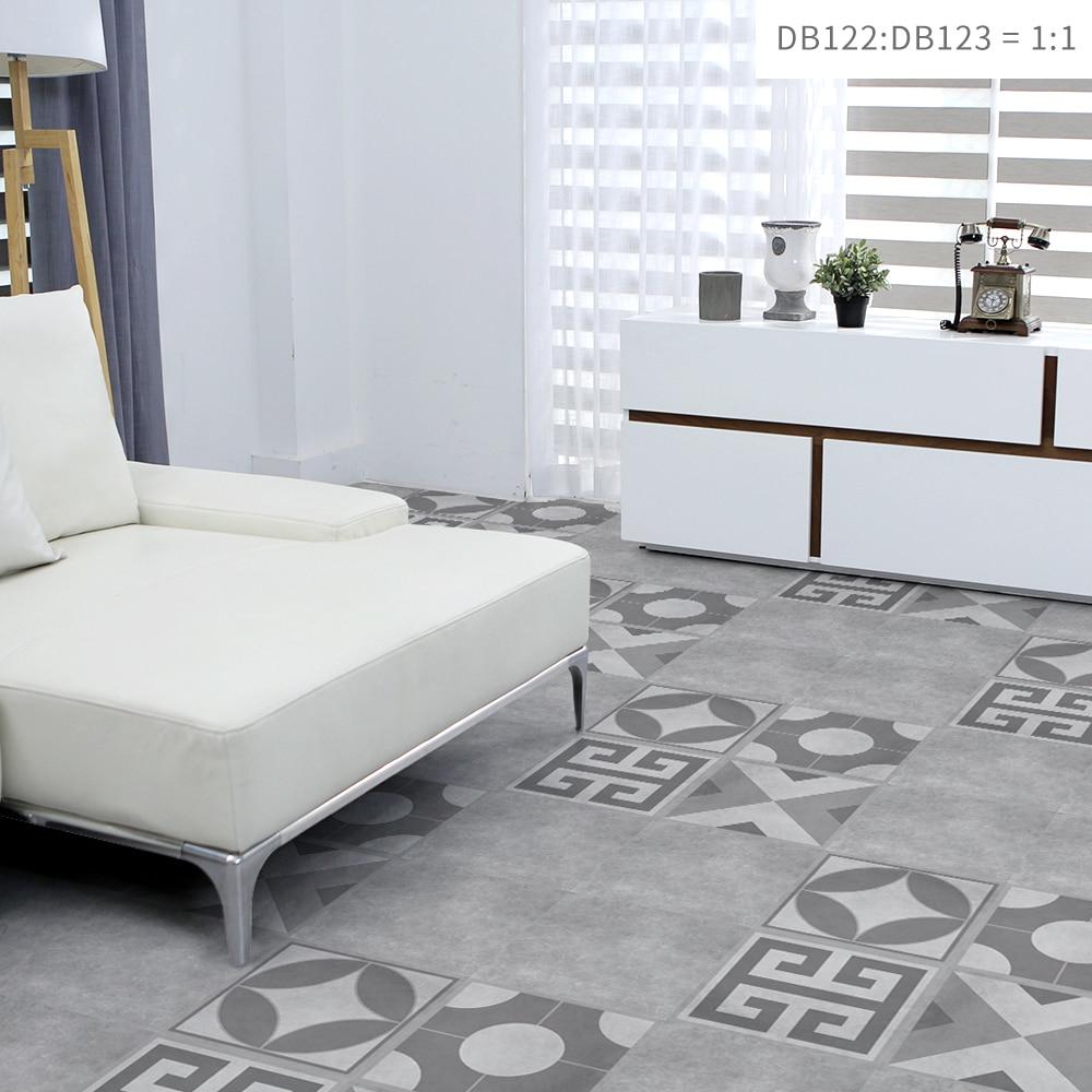 Grey Flower Pattern Square Waterproof Oil Proof Tile Wall Floor Sticker PVC Removable Mural Decal Vinyl Art Living Room Home Dec