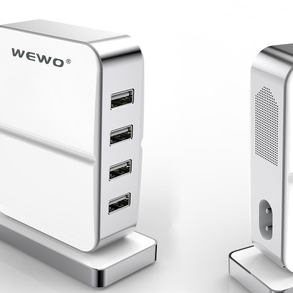 WEWO 5V 2A Total 4 USB Port 6A Cell Phone Charger Quick Fast Intelligent