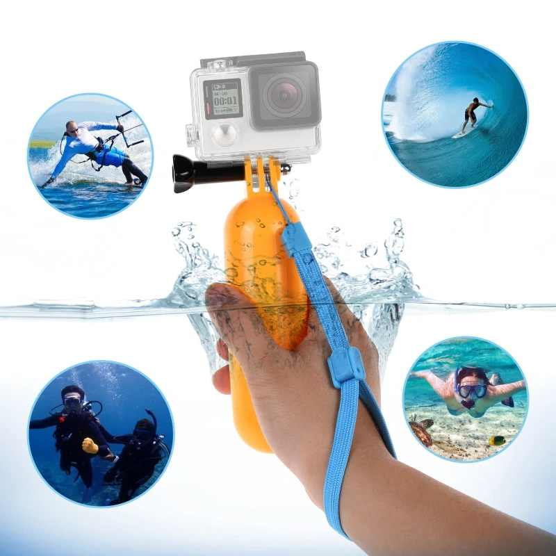 Lowest Price Waterproof Floaty Bobber Floating Handler Hand Grip Tripod Mount With Wrist Strap for Gopros Heros7 6 5 4/3+/3/2/1