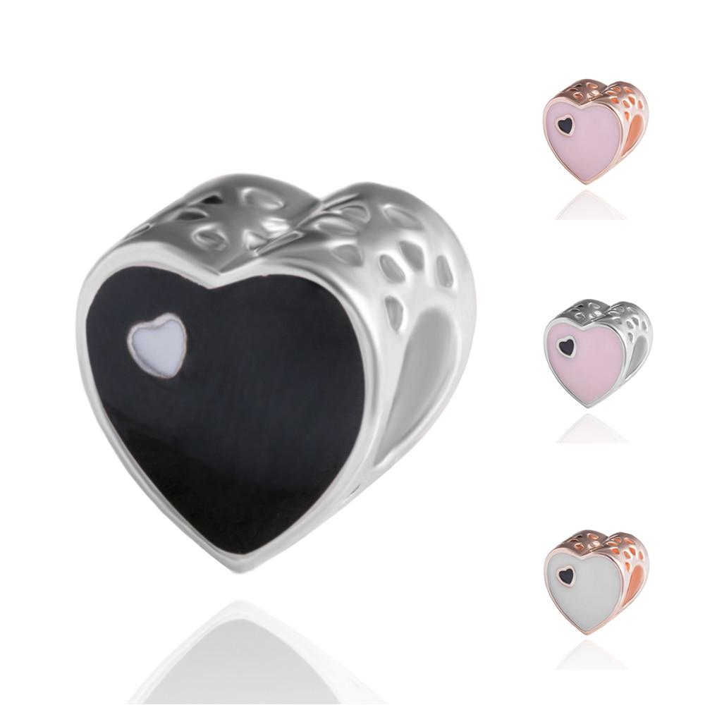 Bracelet DIY Jewelry-Beads Charms Bracelet-Making-Accessories Heart-Shape Wholesale 5pcs/Lot