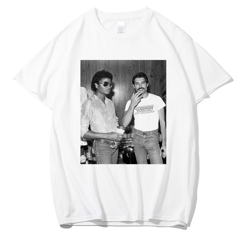 41efeb6264 US $5.26 42% OFF|Tee Shirt Homme Freddie Mercury and Michael Jackson Black  T Shirt Men Casual 100% Cotton T Shirt Mens Shorts Streetwear Fashion-in ...