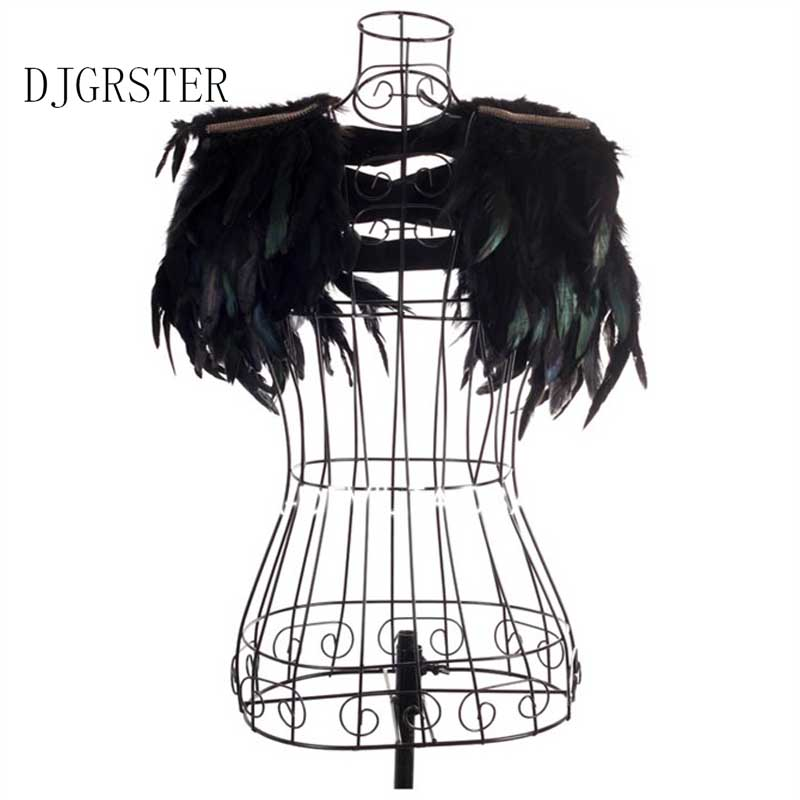 DJGRSTER Jazz Dance Stage Costume Female Singer Dj Ds Black Big Feather Shoulder Bling PerspectiveShow Performance Clothing Set
