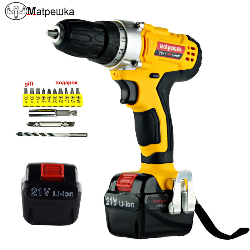 21V Electric Screwdriver Mini Cordless Power Tools Lithium-ion Battery Rechargeable Professional Electric Drill + 13 Gift replacement li ion battery charger power tools lithium ion battery charger for milwaukee m12 m18 electric screwdriver ac110 230v