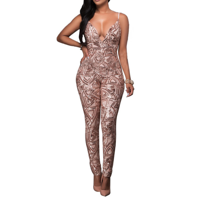 High quality sequined romper party black khaki jumpsuits women club overalls vestidos clothing backless New 2017