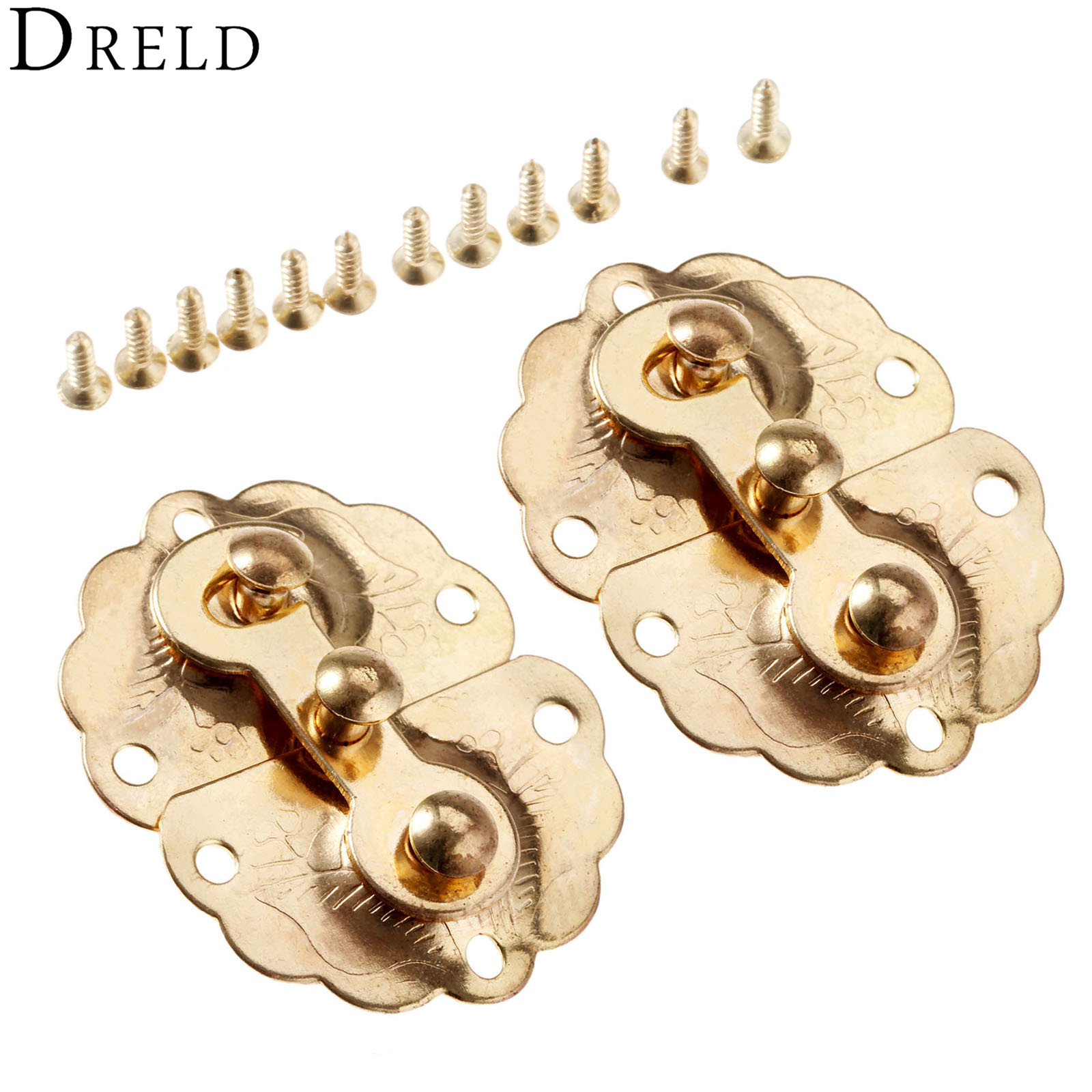 DRELD 2Pcs Gold Iron Latches Catches 35*45mm Hasps Clasp Buckles Small Lock For Jewelry Wood Box Suitcase Furniture Hardware