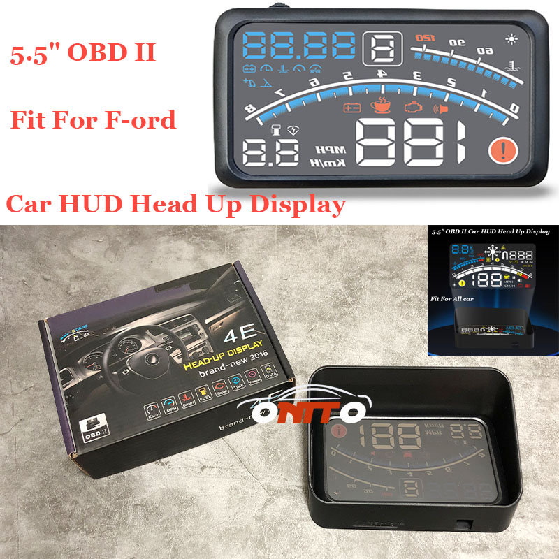 Auto head up display lights 5.5 OBD II lamp Car HUD Head Up Display projector For Ford kuga fusion fiesta transit mustang 2pcs lot mustang 3d metal running horse emblem car door body badge sticker decoration for ford kuga fusion fiesta transit must