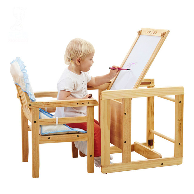 Solid Wood Multifunctional Baby High Chair Combinational Baby Desk Chair Seat Soft Baby Dining Chair Vary Drawing Board C01