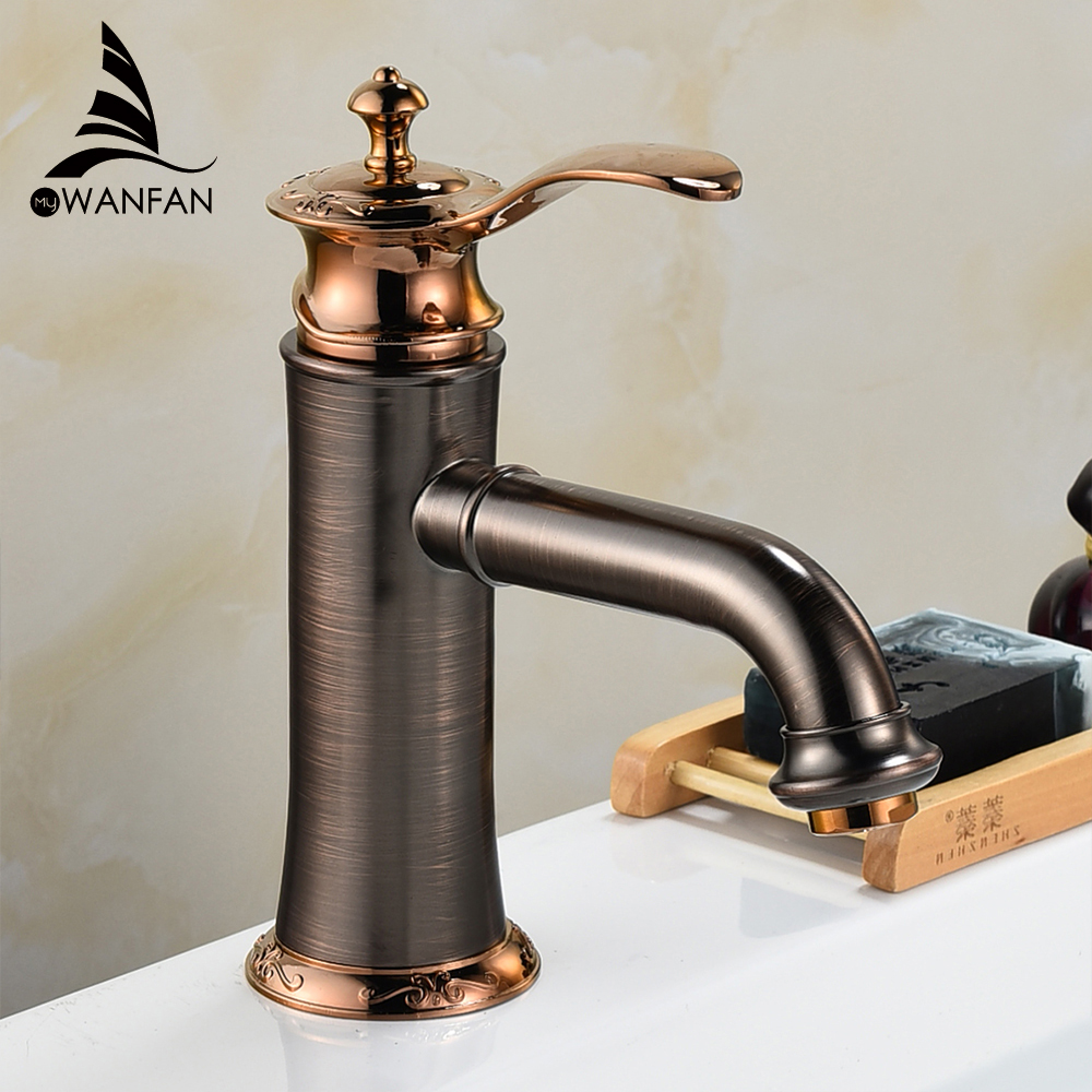 Bathroom Faucets Oil rubbed Bronze Color Faucet Brass Bath Basin Mixer Tap with Hot and Cold