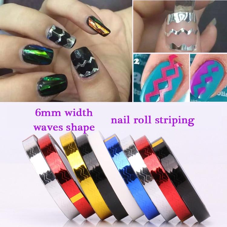 2pcs 6mm Width Waves Shape Nail Rolls Striping Tape Line Diy Nail