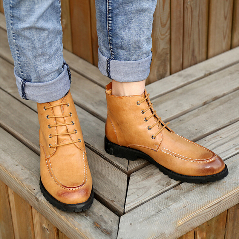 US $51.74 23% OFF|New Fashion High Top Classic Men Oxford Shoes Trend British Style PU Leather Rubber Sole Lace Up Men Oxfords Top Quality in Men's