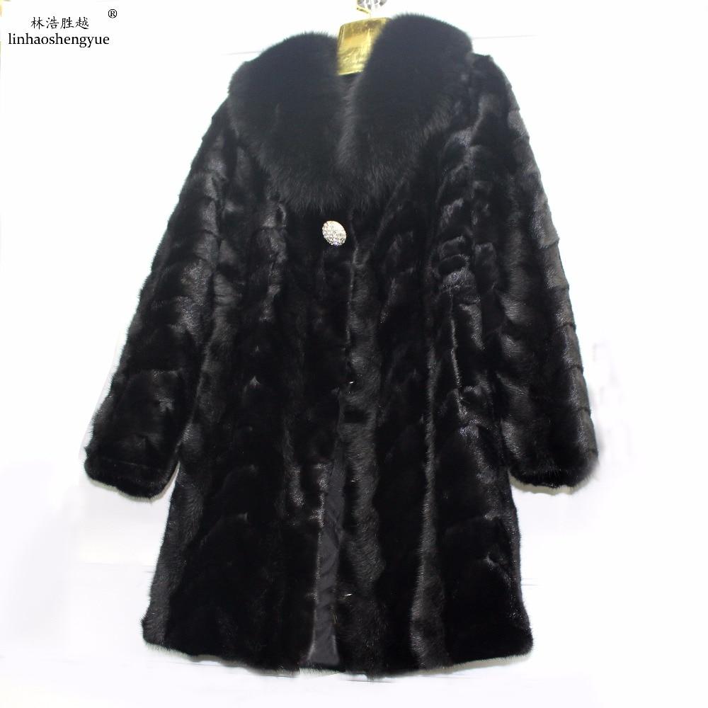 Linhaoshengyue 90cm Winter women mink fur coat 100% Real mink fur