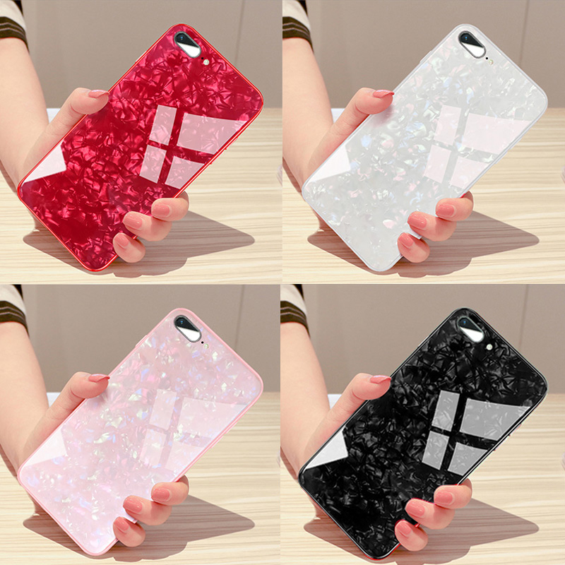 Glitter Tempered <font><b>glass</b></font> Case for <font><b>iPhone</b></font> X Hard <font><b>Back</b></font> Cover Case for <font><b>iPhone</b></font> X <font><b>8</b></font> 7 6 6s Plus Conch Shell Bling Soft frame Case image