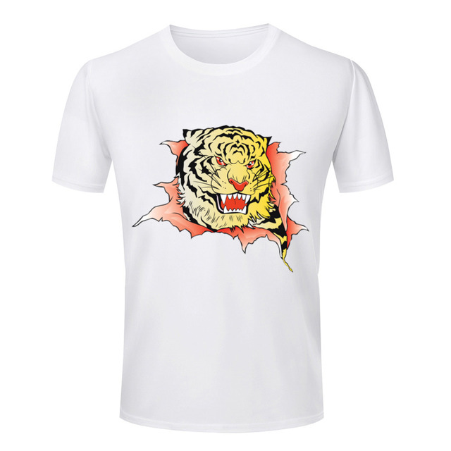 d7237d28 Tiger Pattern Printed Men T Shirt Design Graphic Scratch Male Tee Shirt  Summer Masculine Streetwear White Casual Clothing