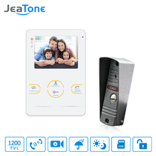 JeaTone HD Camera Doorbell Video Doorphone Intercom System  4  Inch 1200TVL White Color Video  Intercom 7 inch video doorphone video recording doorbell intercom system doorphone hands free speaker intercom metal shell outdoor