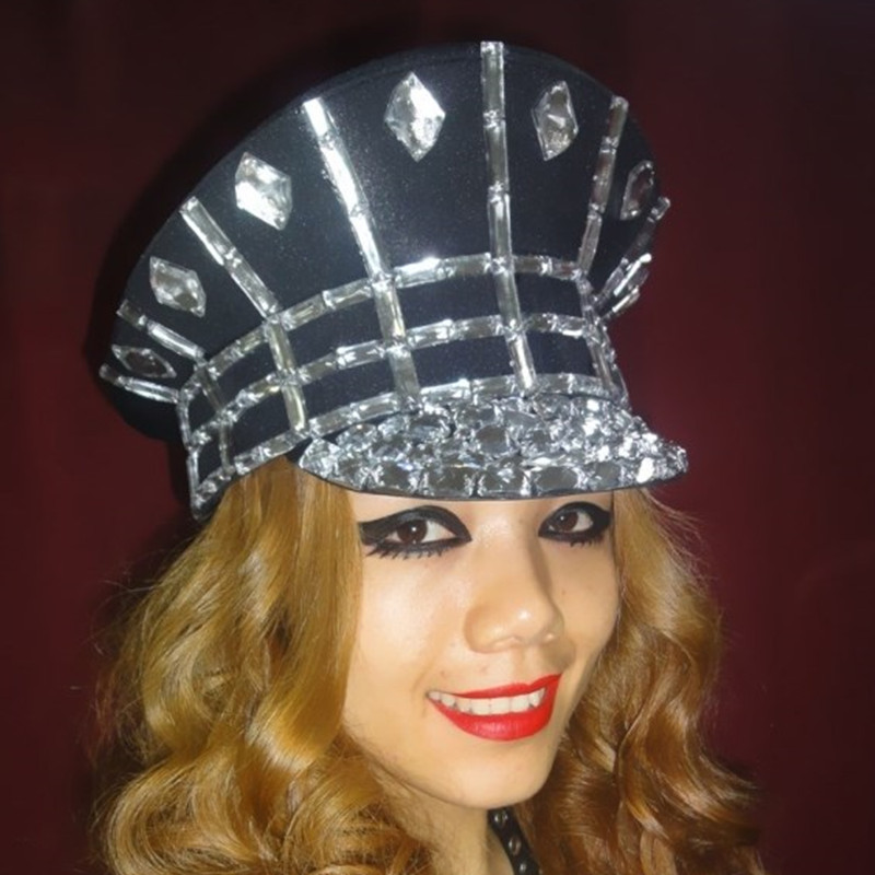 Ds Costume Bling Baby Hats Sparkling Diamond Police Cap Rhinestone Black  White Military Hat Roupa Feminina Beyonce Dance Costume-in Chinese Folk  Dance from ... b6afdf3816e0
