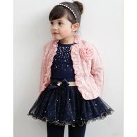 Весенняя одежда для маленьких девочек комплект (3 предмета) пальто с цветком для девочек+синяя футболка+юбка одежда для девочек