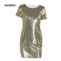Susi Rita Sexy Sequin Party Dress Women 2018 Short Sleeve Mini Dress Club Wear Summer Paillette