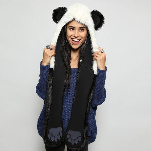 2016 новый зимний Искусственного Меха Гуд Животных Вытяжки Hat panda белый черный милые животные feux меховая шапка шапка Шапочки Мультфильм Волк Шляпа