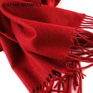 Image 4 - CAVME TOP Grade 100% Cashemere Schal für Mädchen Junge Kinder Rot Weihnachten Einfarbig Schals Geschenk 28*180cm 120g CUSTOM Brief