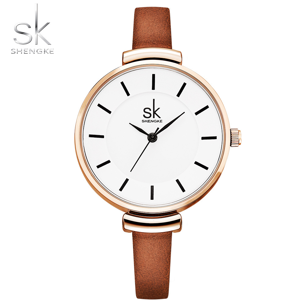 Shengke Quality Fashion Leather Strap Women Watch Casual Simple Quartz Wrist Watch Women Relogio Feminino Ladies Luxury Watches relogio feminino sinobi watches women fashion leather strap japan quartz wrist watch for women ladies luxury brand wristwatch