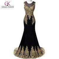 Real Sample 2016 Grace Karin Dubai Arabic Mermaid Evening Dresses Long Black Formal Evening Gowns Robe