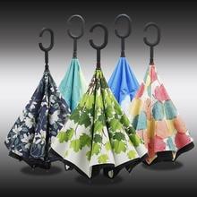Yesello складной обратный двухслойный зонтик перевернутый Ветрозащитный зонты для автомобиля