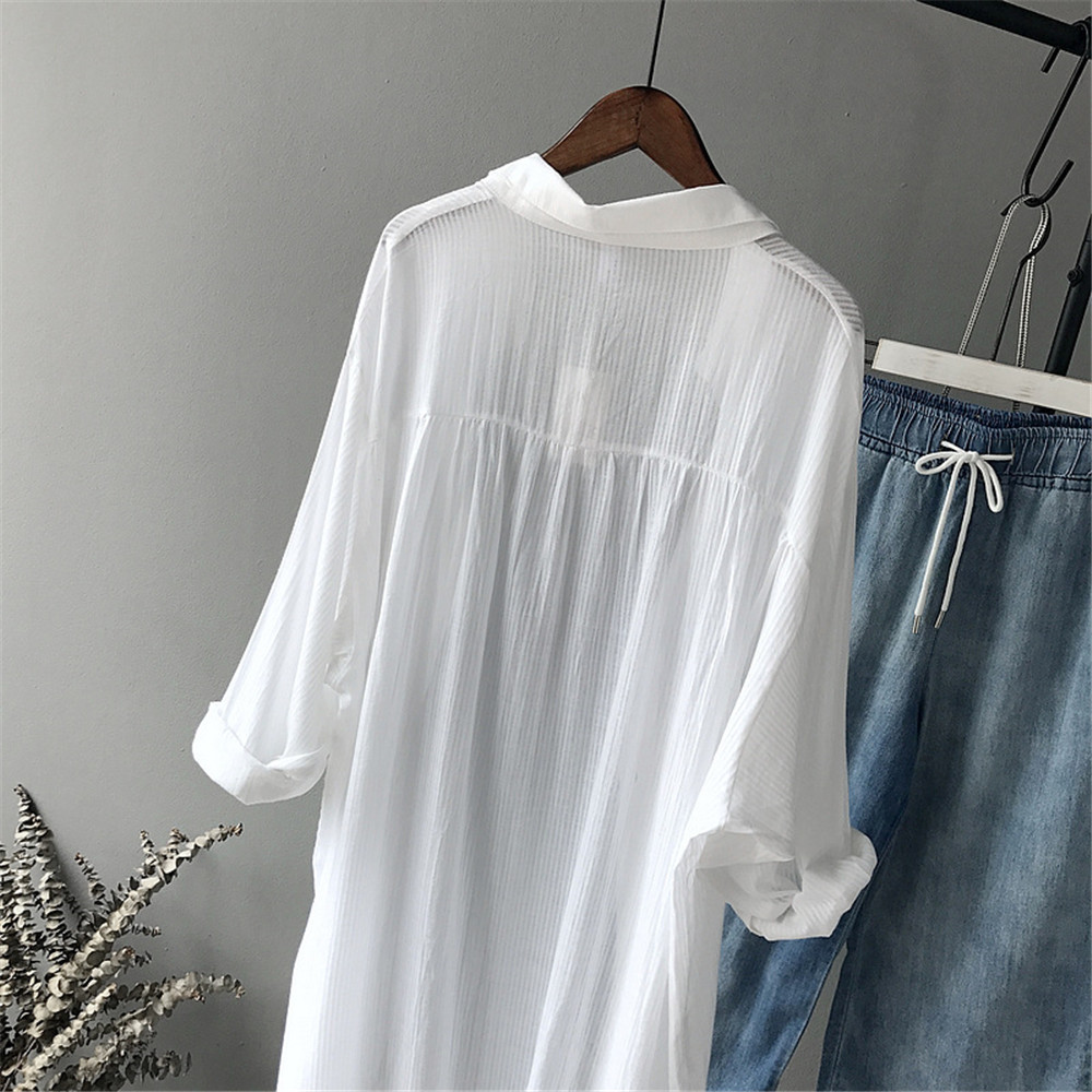100% Cotton Casual White Long Blouse Women 2018 Spring Women Long Sleeve White Shirts Blouse High quality loose Blouse Tops (10)